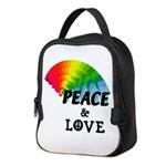Rainbow Peace Love Neoprene Lunch Bag