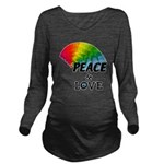 Rainbow Peace Love Long Sleeve Maternity T-Shirt