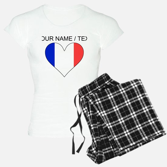 Custom France Flag Heart Pajamas