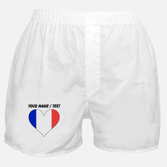 Custom France Flag Heart Boxer Shorts