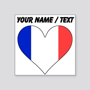Custom France Flag Heart Sticker