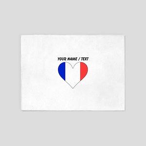 Custom France Flag Heart 5'x7'Area Rug