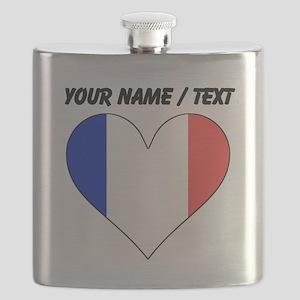 Custom France Flag Heart Flask