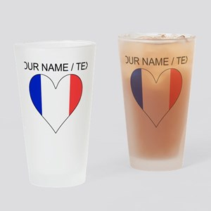 Custom France Flag Heart Drinking Glass