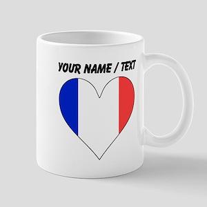 Custom France Flag Heart Mugs