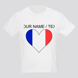 Custom France Flag Heart T-Shirt