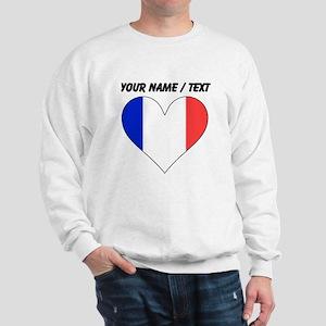 Custom France Flag Heart Sweatshirt