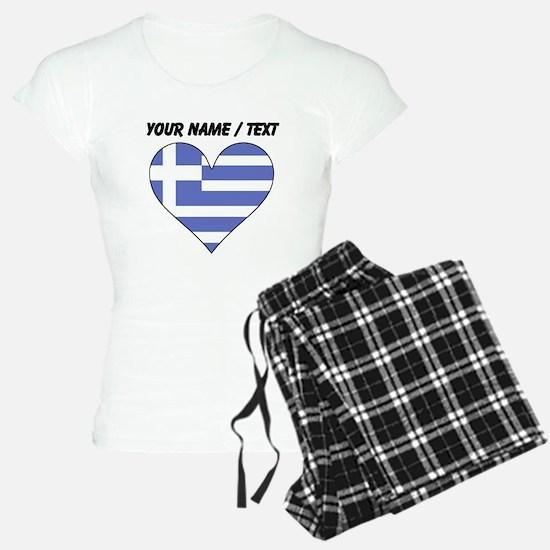 Custom Greece Flag Heart Pajamas