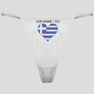 Custom Greece Flag Heart Classic Thong