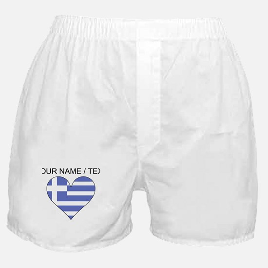 Custom Greece Flag Heart Boxer Shorts
