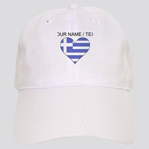 Custom Greece Flag Heart Baseball Cap