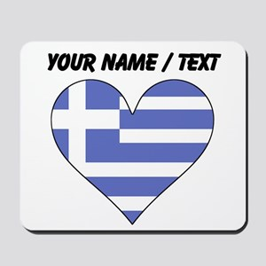 Custom Greece Flag Heart Mousepad