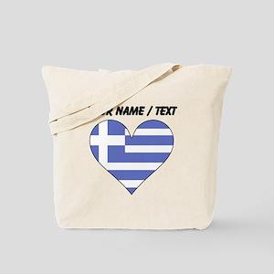 Custom Greece Flag Heart Tote Bag
