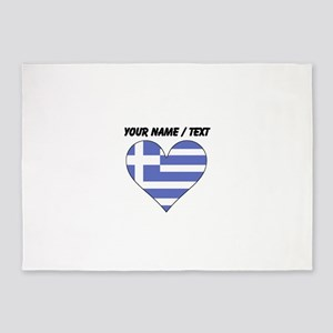 Custom Greece Flag Heart 5'x7'Area Rug