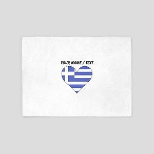 Custom Greece Flag Heart 5'x7'Area Rug