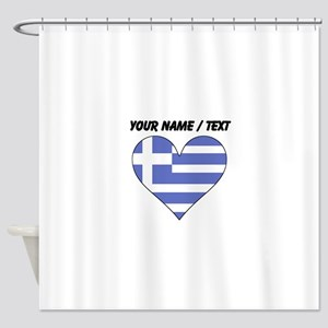 Custom Greece Flag Heart Shower Curtain
