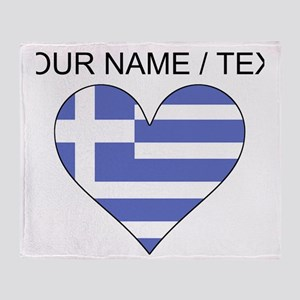 Custom Greece Flag Heart Throw Blanket