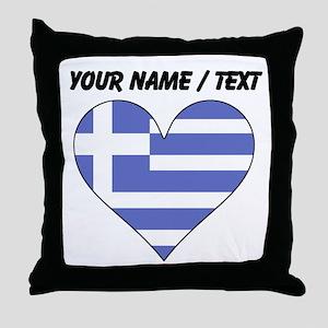 Custom Greece Flag Heart Throw Pillow