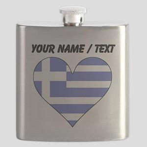 Custom Greece Flag Heart Flask