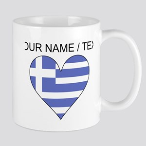 Custom Greece Flag Heart Mugs