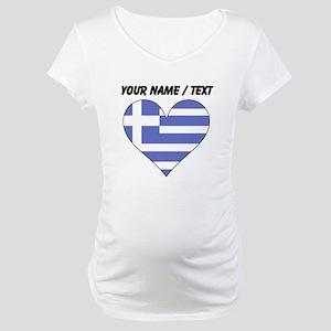 Custom Greece Flag Heart Maternity T-Shirt