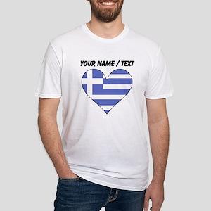 Custom Greece Flag Heart T-Shirt