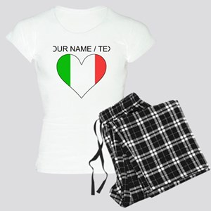 Custom Italy Flag Heart Pajamas