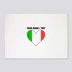 Custom Italy Flag Heart 5'x7'Area Rug
