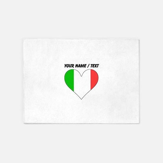Custom Italy Flag Heart 5'x7'Area Rug