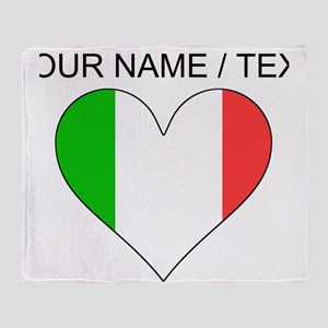 Custom Italy Flag Heart Throw Blanket