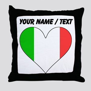 Custom Italy Flag Heart Throw Pillow