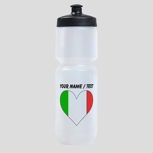 Custom Italy Flag Heart Sports Bottle