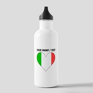 Custom Italy Flag Heart Water Bottle
