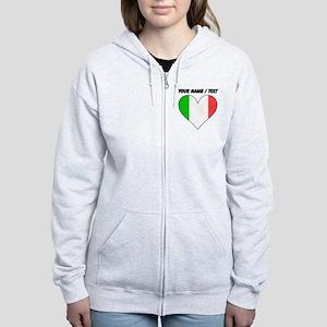 Custom Italy Flag Heart Zip Hoodie