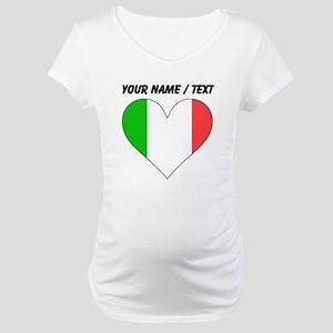 Custom Italy Flag Heart Maternity T-Shirt