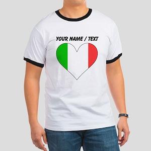 Custom Italy Flag Heart T-Shirt