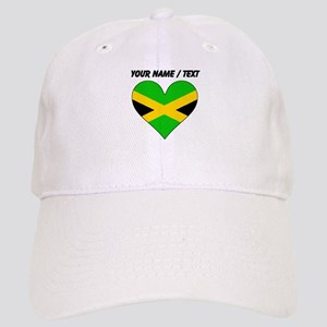 Custom Jamaica Flag Heart Baseball Cap
