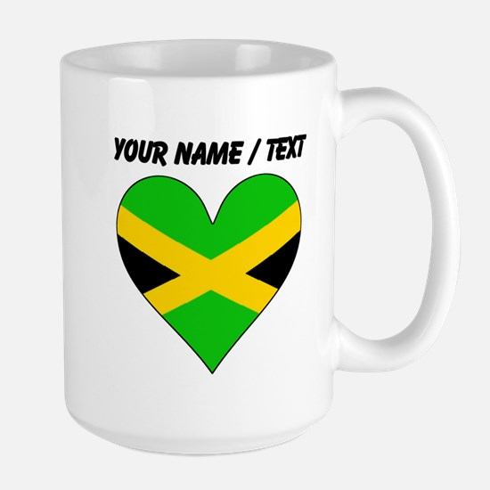 Custom Jamaica Flag Heart Mugs