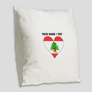 Custom Lebanon Flag Heart Burlap Throw Pillow