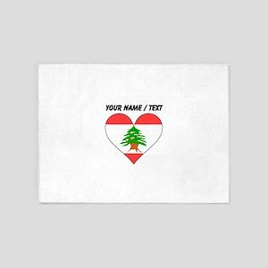 Custom Lebanon Flag Heart 5'x7'Area Rug