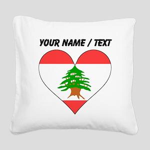 Custom Lebanon Flag Heart Square Canvas Pillow