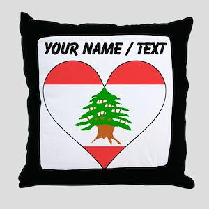 Custom Lebanon Flag Heart Throw Pillow