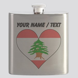 Custom Lebanon Flag Heart Flask