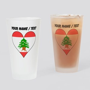 Custom Lebanon Flag Heart Drinking Glass