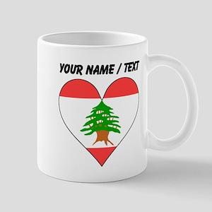 Custom Lebanon Flag Heart Mugs