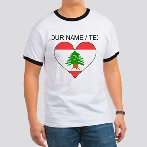 Custom Lebanon Flag Heart T-Shirt