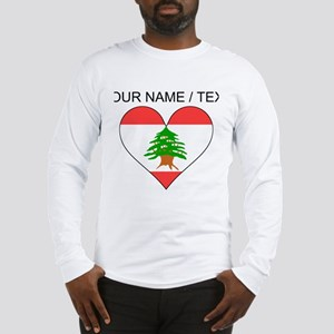 Custom Lebanon Flag Heart Long Sleeve T-Shirt