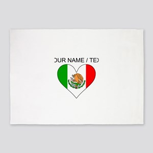 Custom Mexico Flag Heart 5'x7'Area Rug