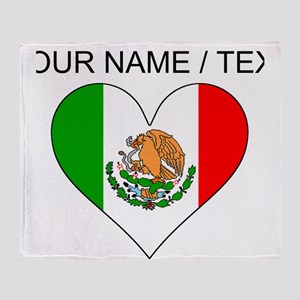 Custom Mexico Flag Heart Throw Blanket