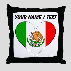 Custom Mexico Flag Heart Throw Pillow
